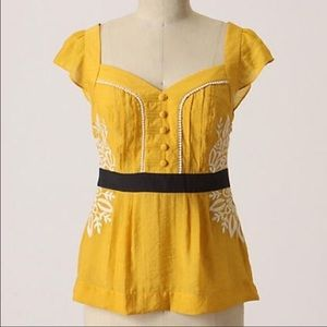 Anthropologie Floreat Yellow Embroidered Top 10
